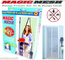 Magic Mesh Hands-Free Screen Door with magnets AS SEEN ON TV,New White NO Box