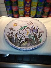 Very large vintage ceramic tray charger underwater scene Laholm ? Sweden ca 1950