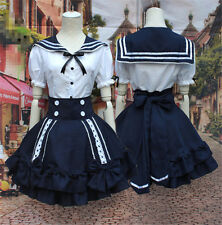 Cute Lolita Girls Lady Sailor Suit Dress Navy Style Tops + Skirt Casual Cosplay