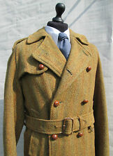 Invertere harris tweed green herringbone double breasted overcoat trench M L 42