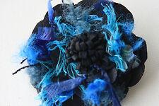 Navy Leather & Lana Fiore Spilla, cuoio bustino Fiore 2 ordine ruby62