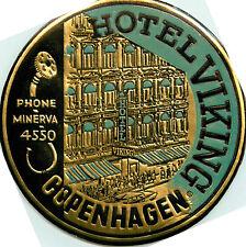 Hote Viking ~COPENHAGEN DENMARK~ Striking Old DECO Metallic Luggage Label, 1955