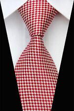 Rosso E BIANCO CUCITO A MANO 100% PURA SETA Cravatta da uomo con motivo diamante di piccole dimensioni