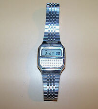 PULSAR (By Seiko) Silver Y739-5019 A Calculator Alarm Watch Vintage Rare 1979