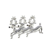 Lux Accessories Holiday Christmas Xmas Silver Tone Reindeer Crystal Brooch Pin