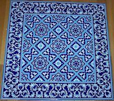 """Blue & White 24""""x24"""" Turkish Iznik Geometric & Floral Ceramic Tile Mural Panel"""