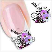 Trendy Colorful Purple Pink Flower Nail Water Decals Art Stickers Tattoo Paint