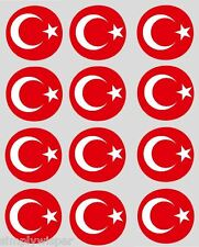 12 Turkish Flag Cupcake Toppers precut 40mm cake decorations turkey flags