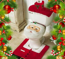 3 pcs XMAS Santa Toilet Seat Cover + Rug Bathroom Set Christmas Home Decoration
