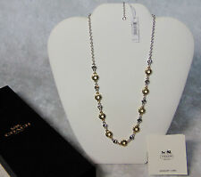 """NEW Coach CIRCLE STATION NECKLACE 19"""" Silver & Yellow Gold w/ Swarovski Crystals"""