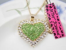 Betsey Johnson Fashion Jewelry inlay green Crystal Heart Pendant Necklace # A168