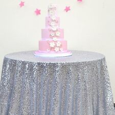 "ON SALE! 90"" Round Silver Sparkly Sequin Tablecloth for Wedding/ Banquet/Party"