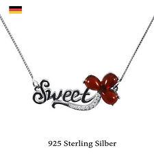 Collier Halskette Anhänger 925 Sterling Silber rhodiniert Sweet rot Achat Blume