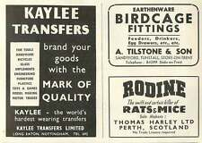 1953 A Tilstone Tunstall Birdcage Thos Harley Perth Rodine Ad