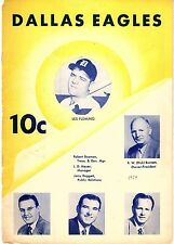 1954 DALLAS EAGLES vs FT. WORTH CATS Baseball Program/Scorecard