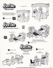 VINTAGE AD SHEET #3456 - 1983 MATTEL - BARBIE DREAM BED - FURNITURE