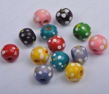 50Pcs 10MM Multi-Color spots wood round loose spacer Beads