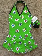Icings NWT CS GREEN DAISY Halter Ice Figure Roller Skating Dress