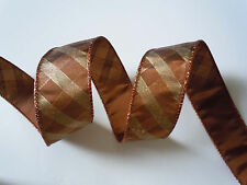 5yd Brown Bronze Fall Plaid Wired Ribbon Thanksgiving Wreath Swag Wedding Bow