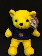 "Rare Bears Yellow Pepsi Bear Plush 10"" Stuffed Animal With # Tag COLLECTABLE!!!"