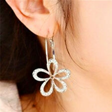 Women Elegant Silver Plated Crystal Rhinestone Flower Stud Earrings Hoop Jewelry