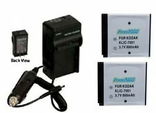 2 KLIC-7001 Batteries + Charger for Kodak MD863 M893 M1063 MD1063 MX1063 M1073