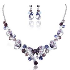 Purple Wedding Bridal Bowknot Austrian Crystal Necklace Jewellery Set Gift Box