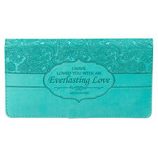 CHECKBOOK COVER, Everlasting Love,Turquoise, by Christian Art Gifts