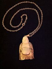 Vintage Estate Brushed Gold Tone Cream Ivory Lucite Buddha Necklace Pendant