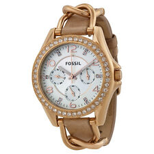 Fossil Rileys Multi-Function Sand Dail Bone Leather Ladies Watch ES3466