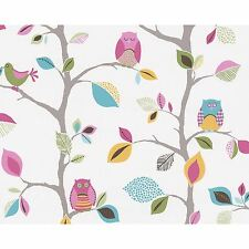 BRIGHT OWLS 10m WALLPAPER ROLLS (8563-26) A.S. CREATION KIDS BEDROOM WALL DECOR