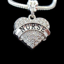 Nurse charm fits european bracelet crystal heart charm only best gift jewelry