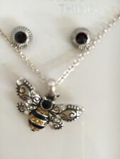 Bumble Bee Jewelry Design Necklace Earring Gift Box Set Black Gold Fashion Jewel