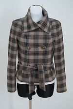 WOMENS MAX&CO SHORT COAT JACKET WOOL BLEND DOUBLEBREASTED BEIGE CHECKED GB 10