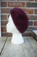 Gorgeous Vintage Style Beret Hat Goodwood Winter Rabbit Fur Soft Burgundy Purple