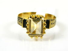 Victorian 14k Gold Sterling Silver 1.5ct Emerald Cut Natural Citrine Ring I061C