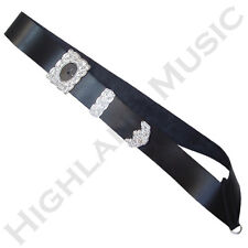 New H M Drummer Cross Belt with Silver Thistle Buckle Black Leather Kilt Belts