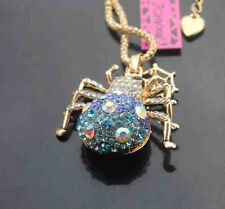 H509L   Betsey Johnson Crystal Spider Pendant Sweater Chain Necklace