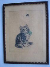 """Plückebaum Meta, 1876-1945, Katze, """"Die Biene"""" original Radierung, signiert."""
