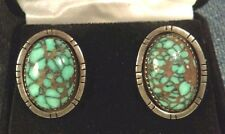 VINTAGE EX RARE COLORBACK TURQUOISE VARISCITE STERLING SILVER NAVAJO EARRINGS