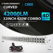 4D WHITE 32INCH 420W CURVED LED LIGHT BAR SPOT FLOOD OFFROAD DRIVING FOG LAMP 42
