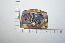 Brooch Pin - Tropical Fish Purple Yellow Orange Ceramic - Faux Pearl - Gold Tone