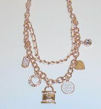 GUESS ROSE GOLD MULTI CHAIN,HEART,PADLOCK,DISK,TRIANGLE,CRYSTAL,CHARM NECKLACE