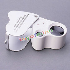 60X 30X Glass Magnifying Magnifier Jeweler Eye Jewelry Loupe Loop LED Light New
