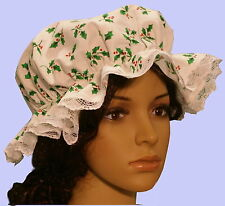 Ladies Victorian Medieval American civil war mop cap holly print white lace