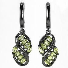 EXCELLENT! GREEN PERIDOT MARQUISE FACET STERLING 925 SILVER BLACK EARRINGS