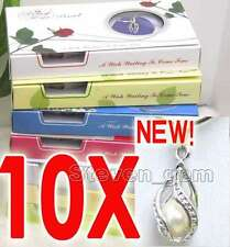 SALE 10 Box helix(drop) pendant Natural Wish Pearl Necklace gift set Box-w120_10