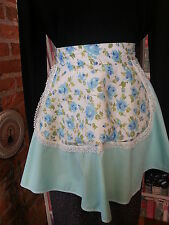 Vtg Apron Light Blue Rosebud Floral with Green Leaves and White lace Trim