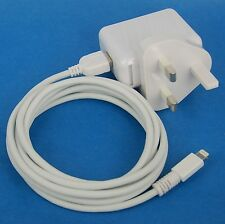 12W AC Wall Charger UK Plug+6ft 2M USB cable WHITE 4 iPad Pro Air 2 4 mini 3