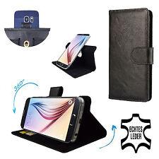 Echtleder Schutzhülle - Odys Neo 6 LTE Case Hülle Tasche Leder 360° Schwarz * XL